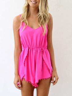 Pink Spaghetti Strap Chiffon Twisted Ball Embellished Romper Playsuit | Choies  PLEASE GOD LET ME HAVE THIS
