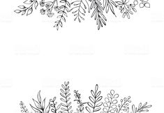 black and white floral hand drawn farmhouse style outlined twigs. Botanical Line Drawing, Wreath Drawing, Clipart Black And White, Floral Border, Designs To Draw, Doodle Art, Line Art, How To Draw Hands, Floral Wreath