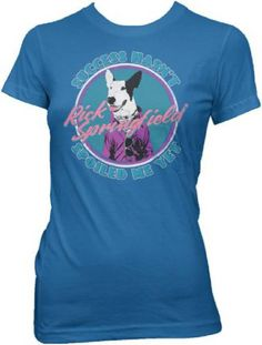 Our women's vintage Rick Springfield t-shirt spotlights the dog from the front cover of Rick's sixth studio album, Success Hasn't Spoiled Me Yet. Success Hasn't Spoiled Me Yet featured three Top 40 singles, which helped further cement Rick's reputation as a pop music powerhouse of the early 1980s. This tee is made from 100% light blue cotton and features classic florescent 1980s colors and fonts with washed out effects for a vintage look and feel. #rickspringfield #bandtees #rockerrags