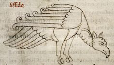 The ostrich has hooved feet. Bodleian Library, MS. Laud Misc. 247, Folio 159r