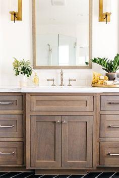 white and gold bathroom // stained wood vanity // gold sconce lights Diy Bathroom, Gold Bathroom, Bathroom Furniture, Bathroom Interior, Small Bathroom, Master Bathroom, Bathroom Ideas, Wood Bathroom Cabinets, Bathroom Makeovers