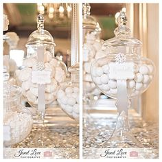 White and Silver bling and sparkly Candy bar by House of Creative Designs. White Candy in candy jars and Silver sequins table cloth.