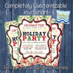 Printable Holiday/Christmas Party Invitation Modern Red and Green