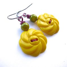 Bright Yellow Flower Button Earrings with by buttonsoupjewelry, $8.00