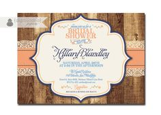 Lace Wood Rustic Bridal Shower Invitation with Roses Shabby Chic Invitation Typography Classic Printable or Printed - Hillary Style