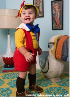 Pinocchio:  red overall shorts, a yellow shirt and some white and blue felt to make the collar and bow, plus 60 Fun and Easy DIY Halloween Costumes Your Kids Will Love