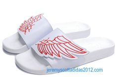 the latest 8389e 75aab Adidas Adilette Sandals Jeremy Scott ObyO JS Wings White Red