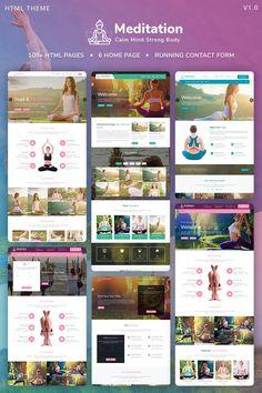 Meditation - Yoga, Fitness & Meditation Mobile Responsive Bootstrap HTML Website Template Bootstrap Template, Html Website Templates, Pilates Logo, Coach Website, Guerilla Marketing, Marketing Ideas, Mobile Responsive, Website Design Layout, Beautiful Yoga