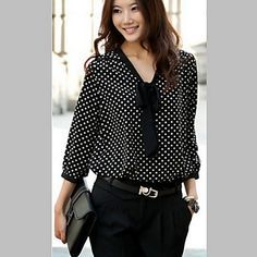 Looking for the perfect Fcyoso Women Bow Neck Polka Dotted Blouses Dressy Tops (Us,L/Asia,Xl) Black? Please click and view this most popular Fcyoso Women Bow Neck Polka Dotted Blouses Dressy Tops (Us,L/Asia,Xl) Black. Bow Blouse, Polka Dot Blouse, Polka Dots, Dressy Tops, Mode Plus, Mode Outfits, Blouse Styles, Casual Chic, Shirt Blouses