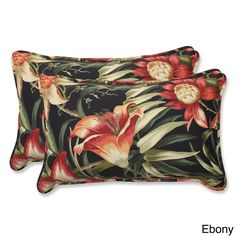 Outdoor Botanical Glow Tropical Rectangular Throw Pillow (Set of 2) (Ebony), Black (Fabric), Outdoor Cushion