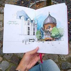Liege :) . #leuchtturm1917 #sketchbook #winsorandnewton #watercolor #micronpigma #pen #travelbook #travelsketch #traveljournal #carnetdevoyage #artjournal #artdiary #sketch #archsketch #arch_more #travel #trip #voyage #belgium #liege