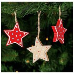 Tesco Wooden Stars Hanging Decoration 6 Pack From Our Skandi Range