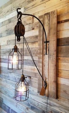 Pulley Light - Steam Punk - Rustic Decor - Farmhouse decor - Office lighting - Custom - Barn wood - Weathered - Vintage - Chandelier - Edison Fixture, home decor #ad