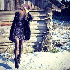 A summer dress with a h&m leather jacket and a secondhand fur vest.