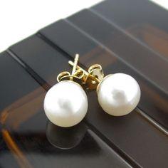Aretes perlas cultivadas mujer chapado en oro lindas joyas  Accesorios para mujer