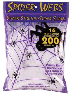 Check out 60 Gram Super Stretch Spider Web - Halloween Props & Decorations from Costume Super Center