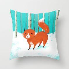 Snowy Fox Throw Pillow by Dale Keys - $20.00