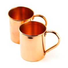 """Story  100% copper Moscow Mule Mugs enhance the flavor of your classic cocktails and keep your drinks exceptionally cold. Features  (2) 18 oz. mugs Seamless interior Will develop a unique patina over time Keep it polished and it will look brand new Dishwasher safe  Materials   Hand crafted from 100% solid Copper  DIMENSIONS   3 3/4"""" W x 3 1/4"""" H"""