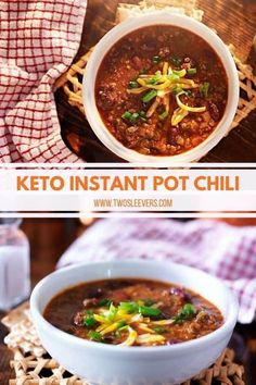 The most authentic and easiest Keto Instant Pot Chili you've ever made. Plus it cooks in minutes in your Instant Pot, yet tastes like it cooked for hours! Instant Pot Chili | Tex-Mex Chili | Texas Chili | Instant Pot Texas Chili | Easy Chili Recipe | Pressue Cooker Chili | Instant Pot Chili Recipe | Two Sleevers #instantpotchili #chilirecipe #instantpotdinner Pressure Cooker Chili, Instant Pot Pressure Cooker, Pressure Cooker Recipes, Keto Chili Recipe, Chili Recipes, Crockpot Recipes, Hip Pressure Cooking, Texas Chili, Low Carb Crackers