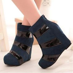 Womens Boots   Attractive Blue Round Closed Toe Wedge Super High Heel Boots - Hugshoes.com