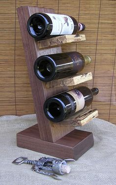 Black Walnut, Ambrosia Maple Hardwood Handcrafted Wood Wine Rack, Display Stand