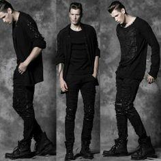 Alternative Black Studded Steam Punk Rock Pants Trousers Clothes Men SKU-11404310