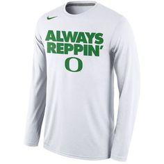 Nike Oregon Ducks Always Reppin' Long Sleeve Legend Bench Performance White  T-Shirt #