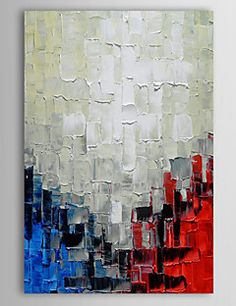 Hand Painted Oil Painting Abstract  Knife Painting Red White And Blue with Stretched Frame