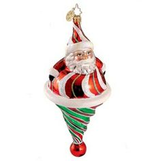 "Roly Poly Twist Santa Christmas Ornament 1012565 Christopher Radko Ornament is made of mouth blown, hand painted glass. Made in Poland. Measures approximately 7"" Includes Radko"