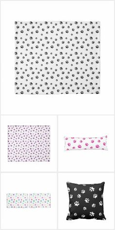 Animal Paw Prints Bedding and Accessories.  My designs have a transparent background so you can change the background colors shown here to match your decor or mix and match for an eclectic look ~ PAWsitively PAWesome! #PawPrints  #AnimalPawPrints #HomeDecor #PawPrints