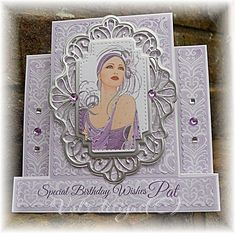 Birthday Cards For Women, Handmade Birthday Cards, Debbie Moore, Art Deco Cards, Stepper Cards, Hunkydory Crafts, Hand Made Greeting Cards, Shabby Chic Cards, Shaped Cards