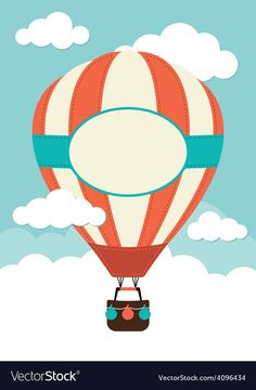 Hot Air Balloon and Clouds - Buy this stock vector and explore similar vectors at Adobe Stock Vintage Airplane Party, Vintage Airplanes, Hot Air Balloon Clipart, Hot Air Balloons, Summer Bulletin Boards, Balloon Invitation, Balloon Illustration, Air Ballon, Diy Crafts To Do