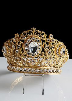 alhambraantiques.com - 19th Century Gilt Brass Repousse Tiara with Facet Cut Glass Jewels