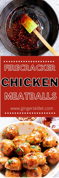 Spicy Chicken Meatballs aka Firecracker meatballs recipe with step-by-step instructions. These spicy and sweet twice-baked chicken meatballs are super easy to make and tastes delicious as an appetizer or in a meal! Firecracker Meatballs, Firecracker Chicken, Baked Chicken Meatballs, Chicken Meatball Recipes, Ground Chicken, Meat Chickens, Tray Bakes, Tandoori Chicken, Super Easy