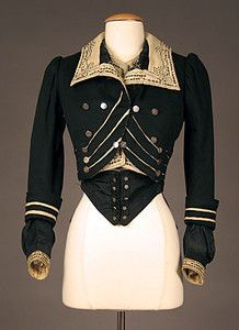 HIGH STYLED BLACK WOOL BODICE, c. 1900 Black & cream wool felt w/ contrasting black & cream embroidery & soutache, silver military style buttons, Category: Womens Era: Condition: Excellent 1900s Fashion, Edwardian Fashion, High Fashion, Vintage Fashion, Edwardian Era, Women's Fashion, Clothing And Textile, Antique Clothing, Historical Costume