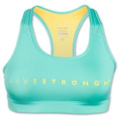 Women's Nike LIVESTRONG Pro Sports Bra | FinishLine.com | Crystal Mint/Varsity Maize