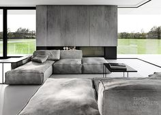 interior design in a minimalist style - 50 ideas from Tamizo Arch. - modular couch and decorative open fireplace -Modern interior design in a minimalist style - 50 ideas from Tamizo Arch. - modular couch and decorative open fireplace - Modern Sofa Designs, Modern Interior Design, Interior Architecture, Home Living Room, Living Room Designs, Living Room Decor, Tamizo Architects, Modular Couch, Interior Minimalista