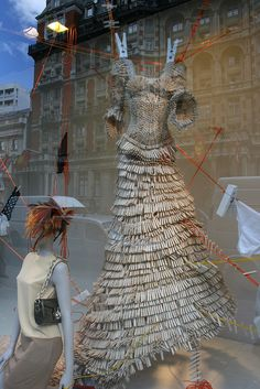Clothespin Dress Window Display by OhhhhShiny! 3d Art, Dress Form Mannequin, Recycled Fashion, Store Displays, Window Displays, Window Design, Recycled Art, Visual Merchandising, Fashion Art