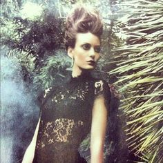 We LOVE this editorial shot of Myla's black bodysilk under gothic lace. Marie Claire UK December 2012.