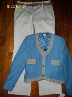 $39 & FREE SHIPPING Women's Outfit Size 6 Ann Taylor Loft Stripe Pants Harve Benard 6p Blazer #AnnTaylor