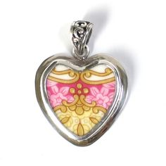 Broken China Jewelry Royal Albert Lady Carlyle Pink and Gold Crest Heart Sterling Pendant