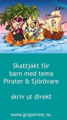 Skattjakt för barn med pirattema perfekt för barnkalas. #barnkalas #skattjakt #barn #lekar #grapevine #ffestlekar
