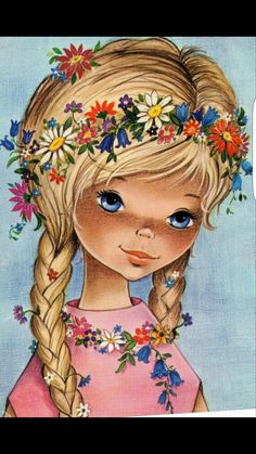 Vintage Postcard with beautiful blue eye girl flower power Gallarda Vintage Greeting Cards, Vintage Postcards, Vintage Images, Vintage Girls, Vintage Children, Holly Hobbie, Retro Illustration, Vintage Artwork, Big Eyes