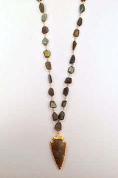 N00267 $285  Labradorite on gold filled wire with arrowhead. $285.