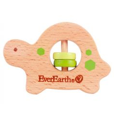 Wooden Dinosaur Grasping Toy - Wooden Baby Rattle by EverEarth Toys