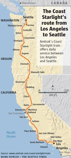 It takes 35 hours to get from Los Angeles to Seattle on Amtrak's Coast Starlight train. Tasked with finding out what it's like to ride a tra Train Route, Train Trip, Train Vacations, Dream Vacations, Coast Starlight Train, Amtrak Train Travel, Travel Usa, Travel Tips, Usa Roadtrip