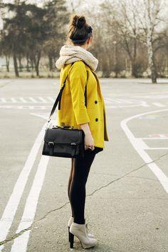 yellow jacket. oversized scarf. neutral heel booties.
