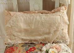Old Pillows, Valance Curtains, Pillow Cases, Boxes, Lace, Home Decor, Crates, Decoration Home, Room Decor