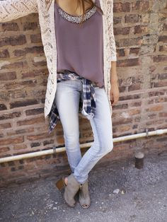 Fall outfit • white sweater • plum tank top • cute tank top • tank top with embellishments • plaid shirt • light washed jeans • jeans outfit • gray wedges •