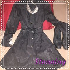 Absolutely stunning black button up jacket This gorgeous shimmering black button down jacket tapers beautifully at the waist with tie closure to give great shape. Buttons are beautiful and amazing tie corset style back. 36 inches long, sits mid thigh. Is a size large but runs small so I would say it would fit a size medium better. Brand is Double Zero. Double Zero Jackets & Coats Trench Coats